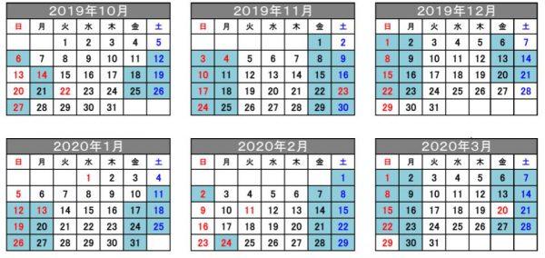 運転日(青塗り)